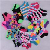 600 Units of Assorted Pritns Womens Cotton Blend Ankle Socks - Womens Ankle Sock