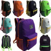 24 Units of 17 Inch Two Tone Unisex Back to School Backpack in 8 Assorted Colors - Backpacks 17""