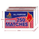 12 Units of 2pk 250ct Wooden Matches - BBQ supplies