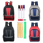 "24 Units of 17"" Wholesale Kids Sport Backpacks in 4 Assorted Colors with School Supply Kit - School Supply Kits"