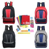 "24 Units of 17"" Kids Sport Backpacks in 4 Assorted Colors with School Supply Kit - School Supply Kits"