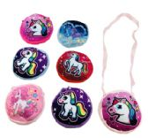 "72 Units of 7"" Round Printed Unicorn Purse [Crossbody] - PURSES/WALLETS"