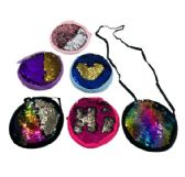 "12 Units of 7"" Round Reversible Sequin Purse [Crossbody] - PURSES/WALLETS"