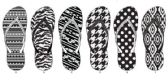72 Units of Ladies Black And White Fashion Slippers - Women's Flip Flops