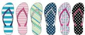 72 Units of Ladies Stripe and Polka Dot Pattern Flip Flops - Women's Flip Flops