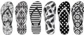 72 Units of Ladies Fashion Printed Flip Flops, Black And White Prints - Women's Flip Flops