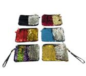"12 Units of 8.5""x6"" Reversible Sequin Purse with Wrist Strap - PURSES/WALLETS"