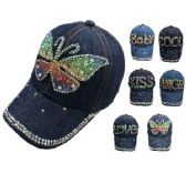 """72 Units of YOUTH DENIM HAT WITH BLING [ASSORTMENT] 21 1/4"""" - Baseball Caps/Snap Backs"""