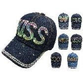 """72 Units of TODDLER DENIM HAT WITH BLING [ASSORTMENT] 19"""" - Caps & Headwear"""