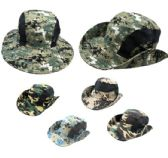 12 Units of VENTED BOONIE HAT [ASSORTED CAMO] - Cowboy, Boonie Hat