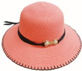 24 Units of Ladies' Hat With Ribbon (pearl ornament - Sun Hats