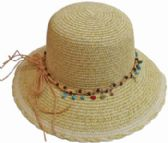 24 Units of Bucket Hat With Beads Tie - Bucket Hats
