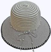 24 Units of Ladies' Hat With Pearl Tie - Sun Hats
