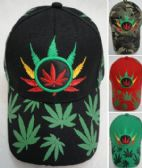 12 Units of Colorful Marijuana Hat [Screen Print Leaves on Bill] - Baseball Caps/Snap Backs