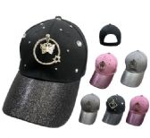 72 Units of GLITTER BASEBALL HAT WITH GEMS [RING DECORATION ON FRONT] - Baseball Caps/Snap Backs