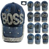 72 Units of Denim Strapback Hat with Bling Studs Assortment - Baseball Caps/Snap Backs