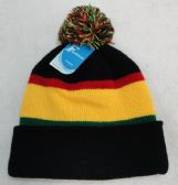 12 Units of Double-Layer Knitted Hat with PomPom[Black/Red/Yellow/Green] - Fashion Winter Hats