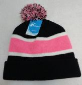12 Units of Double-Layer Knitted Hat with PomPom[Black/White/Pink] - Fashion Winter Hats