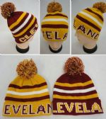 12 Units of Knitted Toboggan with PomPom [CLEVELAND] Wine/Gold - Fashion Winter Hats