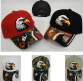12 Units of Eagle Head Hat [Red/White/Blue USA & Flag on Bill] - Baseball Caps/Snap Backs