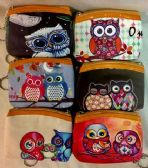 12 Units of wholesale Coin purse with Zipper assorted Owl design - Boxes & Packing Supplies