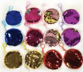 12 Units of Wholesale Double Sided Sequins Round Coin Purse Assorted Colors - PURSES/WALLETS