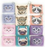 12 Units of Wholesale Pastel Color Cat & Dog Coin Purse Assorted Colors - PURSES/WALLETS