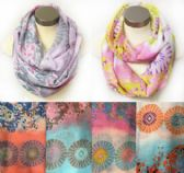 12 Units of Wholesale Infinity Circle Floral Multi-Color Circular Design - Womens Fashion Scarves