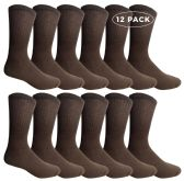 12 Pairs of WSD Mens Cotton Crew Socks, Solid, Athletic (Brown) - Mens Crew Socks