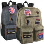"24 Units of 18 Inch Multi Pocket Backpack With Real Patches & Brass Zippers - Backpacks 18"" or Larger"