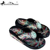 24 Units of Montana West Fun Novelty Embroidered Collection Flip Flops CASE - Womens Sandals