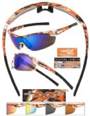 12 Units of Wholesale Camouflage Half Frame Sports Wrap Sunglasses - Sport Sunglasses