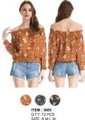 72 Units of Wholeale Floral Off Shoulder Ruffle Long Sleeve Tops Assorted - Womens Fashion Tops