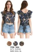72 Units of Wholesale Ruffle Floral Top with Ties in the back Assorted - Womens Fashion Tops