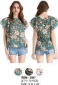 72 Units of Wholesale Ruffle Shoulder Floral Tops Assorted - Womens Fashion Tops