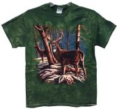 12 Units of Wholesale Tie Dye Green Deers In Snow Scene - Mens Shirts