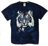 12 Units of Wholesale Tie Dye Navy Shirts with White Tiger Graphic - Mens Shirts