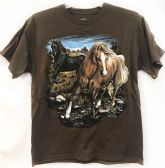 12 Units of Wholesale Brown T Shirt Two Horses In A Field Assorted Sizes - Mens Shirts