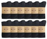 12 Pairs of Womens Knee High Socks, Cotton, Flat Knit, Solid Colors (Black) - Womens Knee Highs