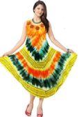 24 Units of Wholesale Tie Dye Brush Painted Rayon Umbrella Dresses - Womens Sundresses & Fashion