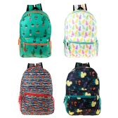 "24 Units of 17"" Wholesale Backpack in 4 Assorted Prints - Backpacks 17"""