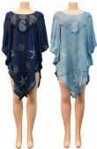 24 Units of Wholesale Indian Rayon Dress with Paisley Starfish Turtle Print - Womens Skirts