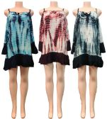 24 Units of Wholesale Indian Rayon Tie Dye Dress with Long Sleeves - Womens Skirts