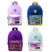 "24 Units of 17"" Backpack in 4 assorted print - Backpacks 17"""