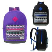 "24 Units of 17"" Kids Backpacks in Purple and Black Colors - Backpacks 17"""