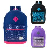 "24 Units of 17"" Girls Backpacks In 3 Assorted Colors - Backpacks 17"""
