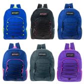 "24 Units of 16"" Kids Padded Bungee Design Backpacks in 6 Assorted Colors - Backpacks 16"""