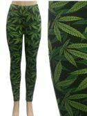 24 Units of Wholesale Black Color Legging with Green Marijuana Leaves - Womens Leggings