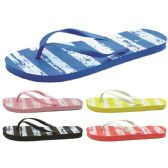 60 Units of Women's Striped Printed Flip Flops - Women's Flip Flops
