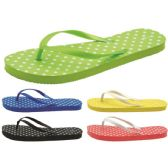 60 Units of Women's Polka Dot Printed Flip Flops - Women's Flip Flops